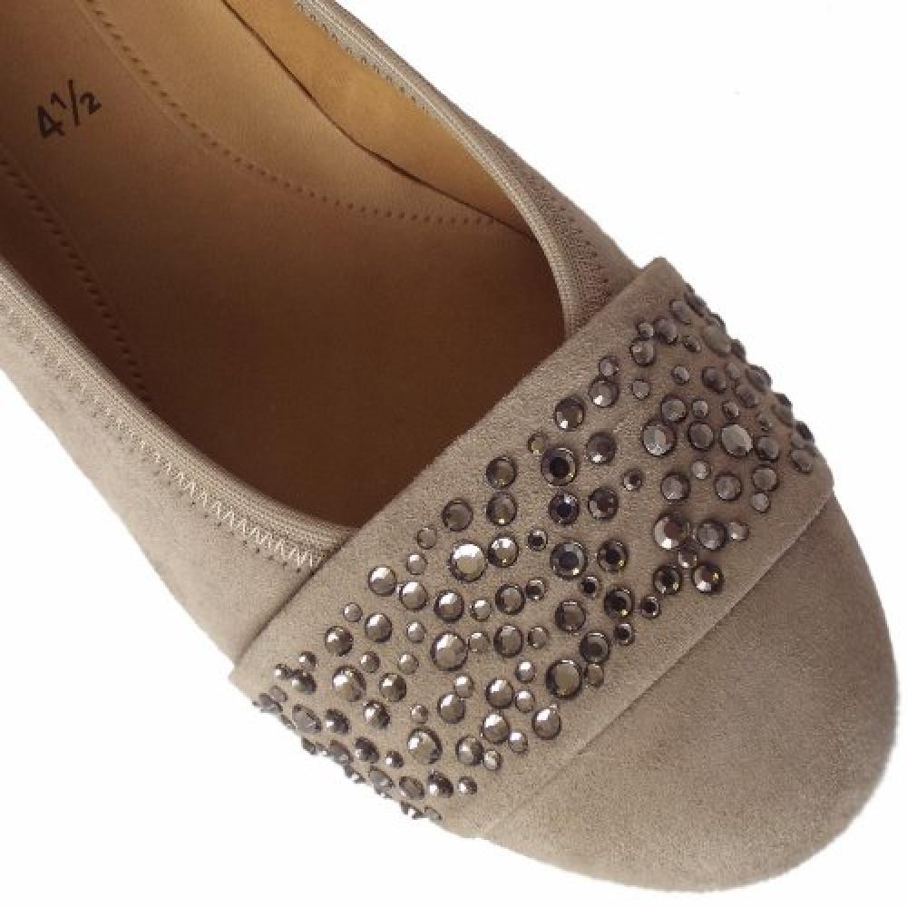Туфли Gabor 25.482.12 серо бежевые с кристаллами