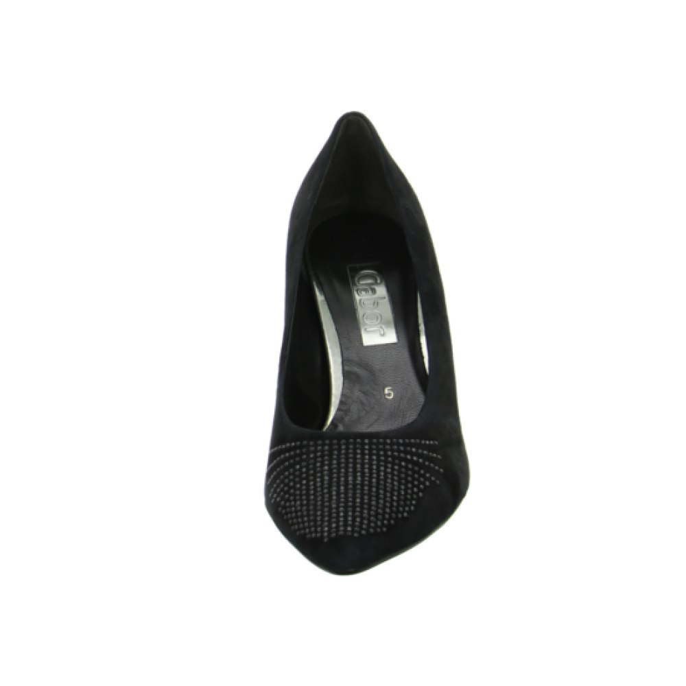 Туфли Gabor 31.281.17 черные замшевые с камнями