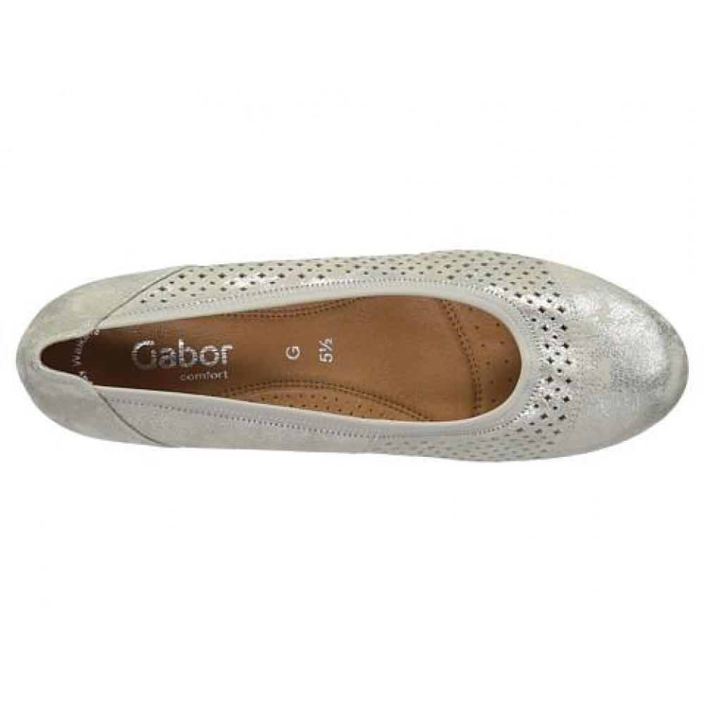 Туфли Gabor 42.695.91 бежевые с серебристым напылением