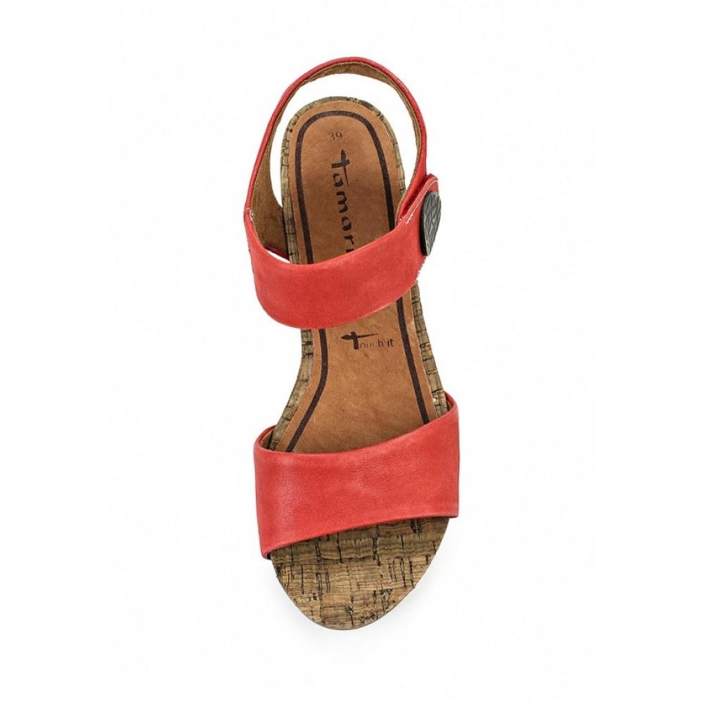Босоножки Tamaris 1-28323-24 красные кожаные