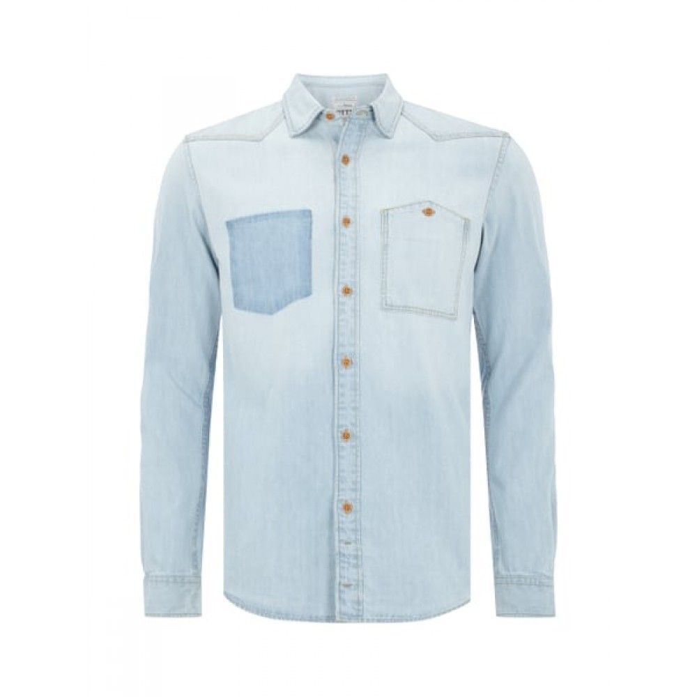 Джинсовая рубашка Tom Tailor Denim 2029205.09.12 голубая washed look