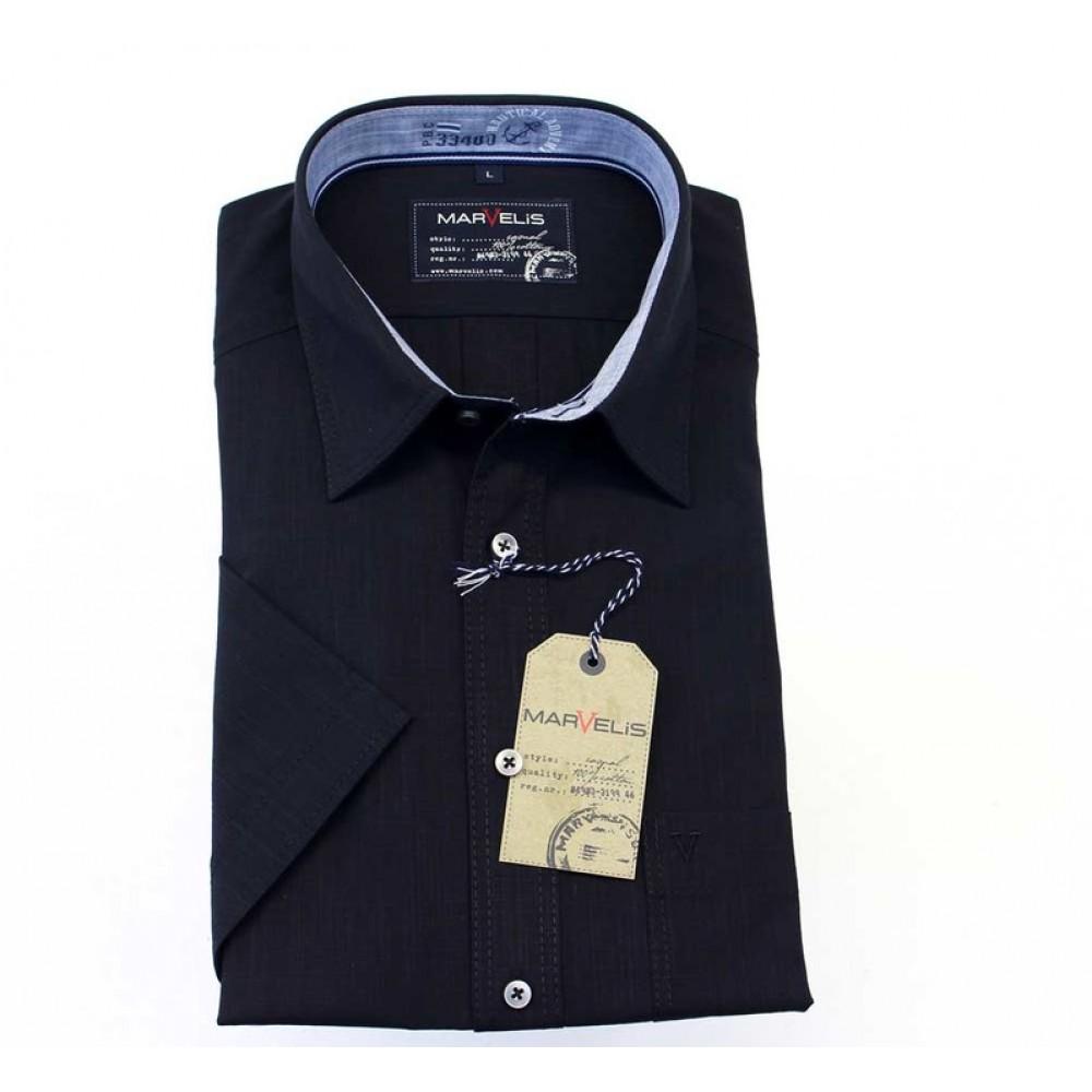 Рубашка мужская Marvelis Casual 3649-12-19 темно синяя