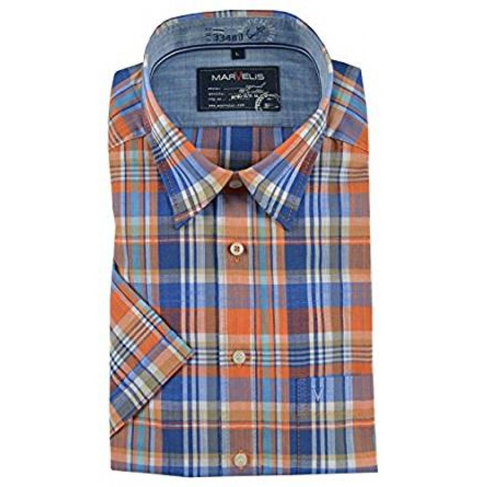 Рубашка мужская Marvelis 3667-12-80 разноцветная в клетку