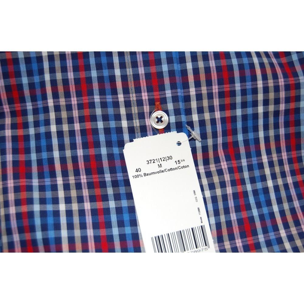 Рубашка Marvelis Mofern Fit 3721-12-30 синяя в клетку