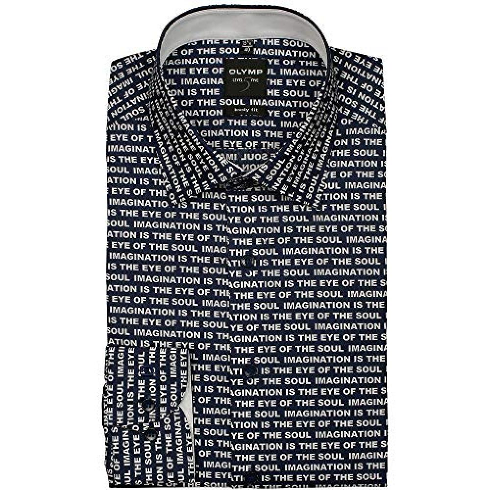 Рубашка мужская Olymp Level Five Body Fit  1056-64-18 синяя с печатным принтом