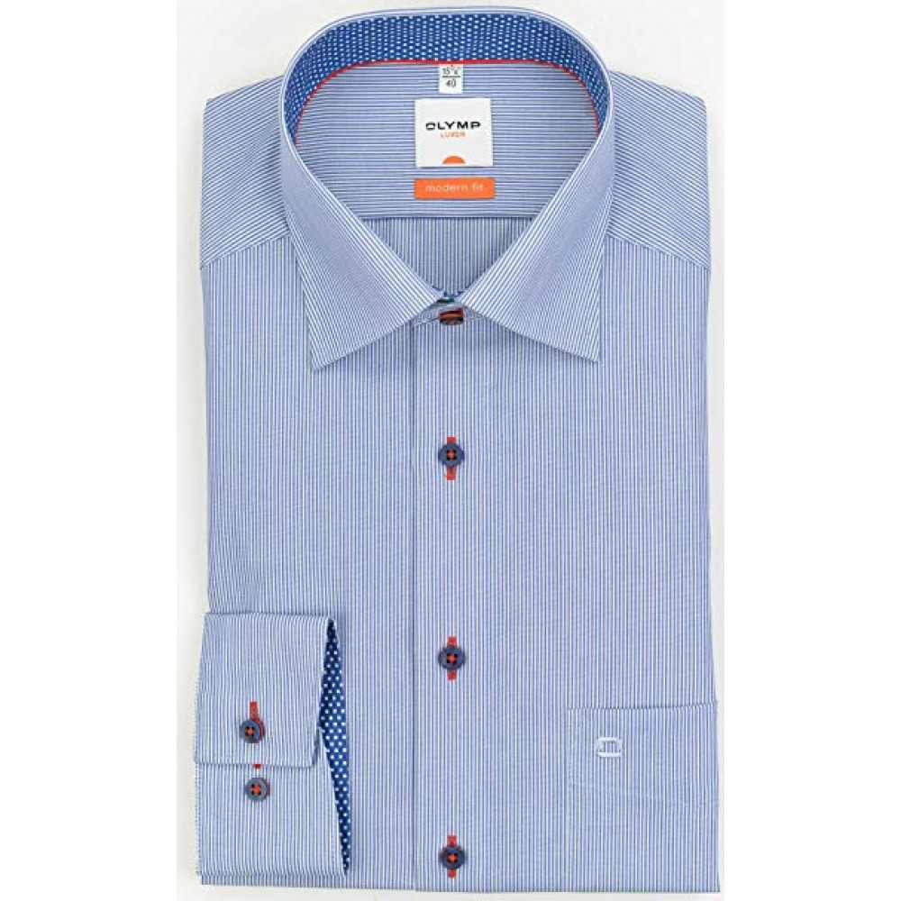 Рубашка мужская Olymp Luxor  Modern Fit 1322-64-19 голубая в полоску