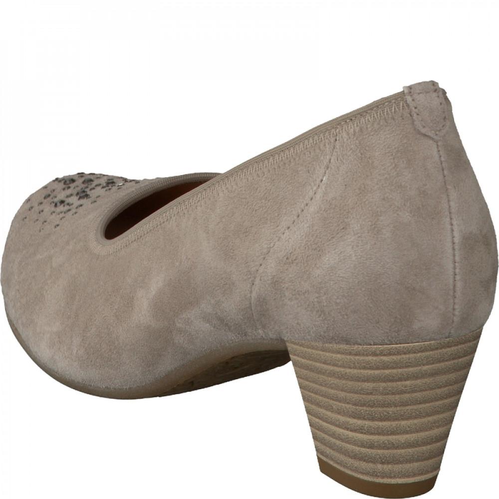 Туфли замшевые Gabor 46.183.42 серо бежевые с камушками