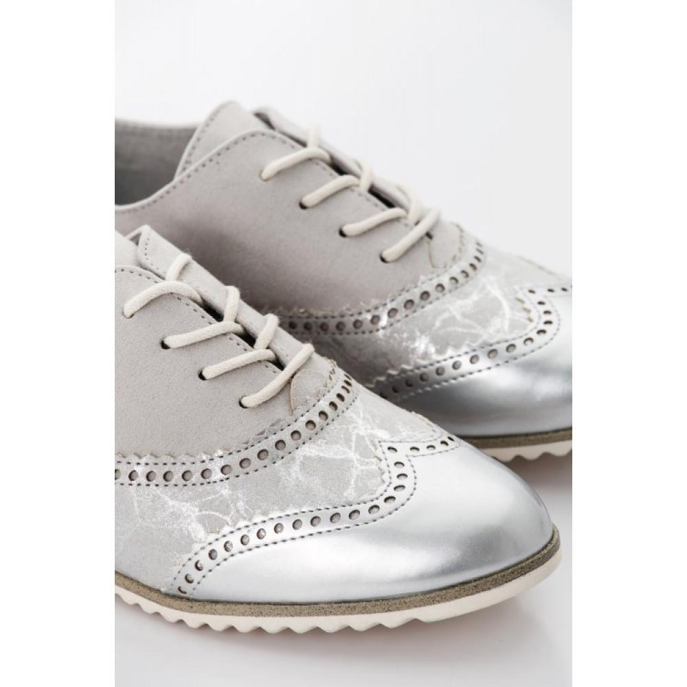 Туфли дерби Marco Tozzi 2-23205-28 серые с серебристым мыском
