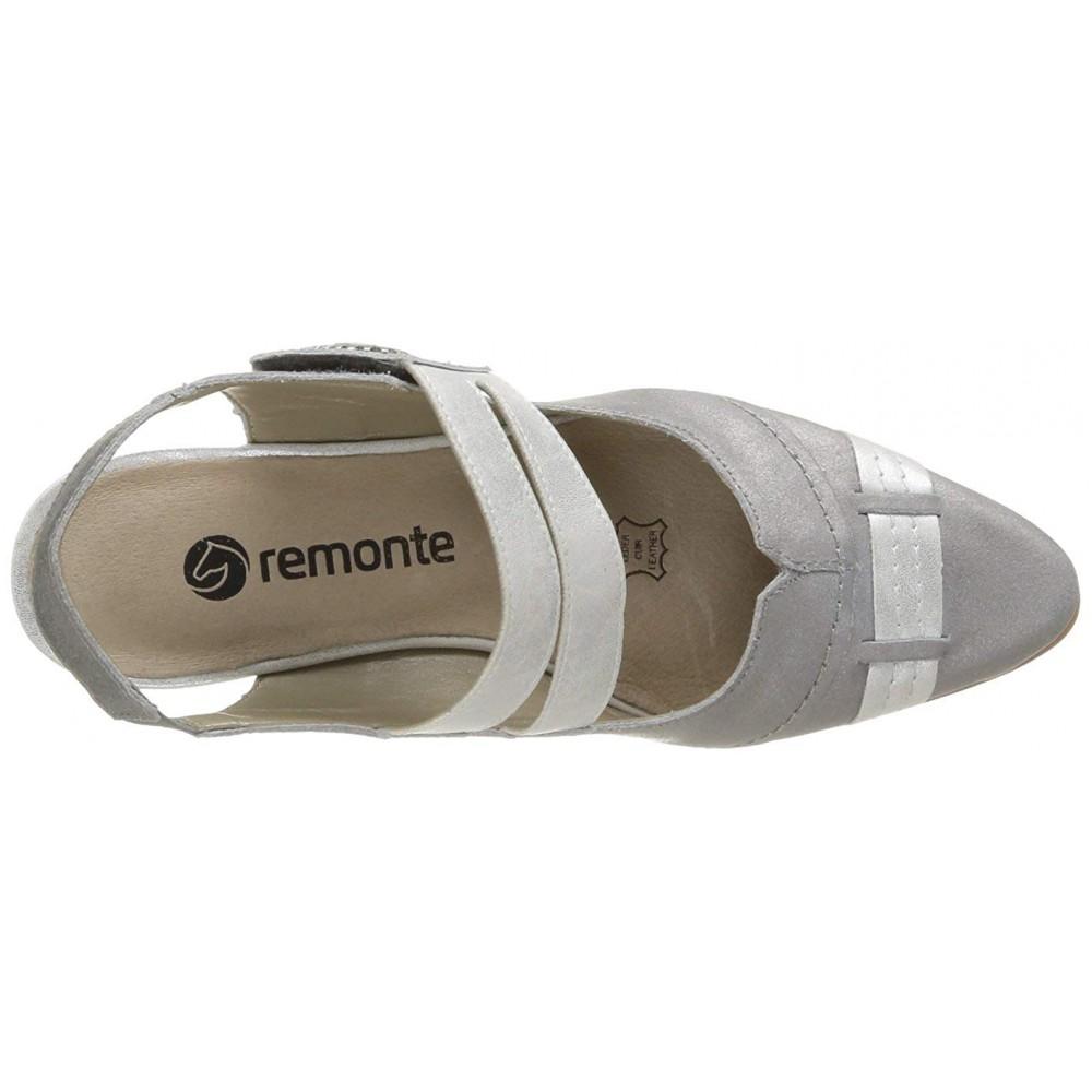 Босоножки Remonte D9605-90 серебристые с застежкой-липучкой