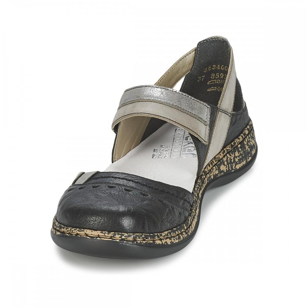 Туфли Rieker 46346-00 черные с серебристыми вставками