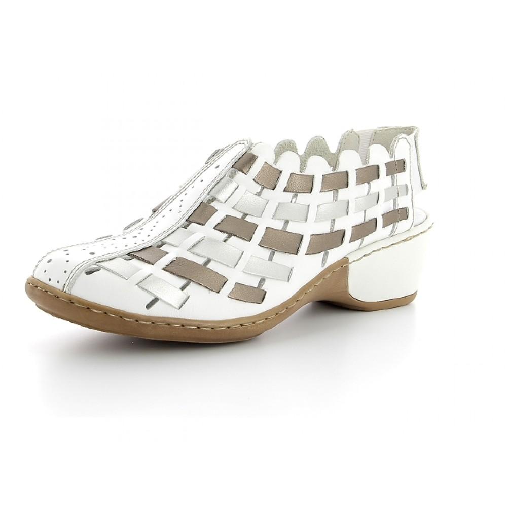 Босоножки плетенки Rieker 47156-80 белые