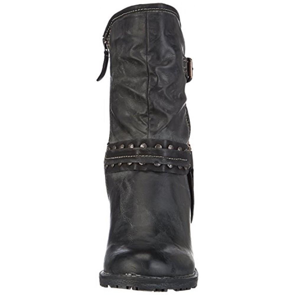 Полусапоги Tamaris 1-25445-23 черные в байкерском стиле