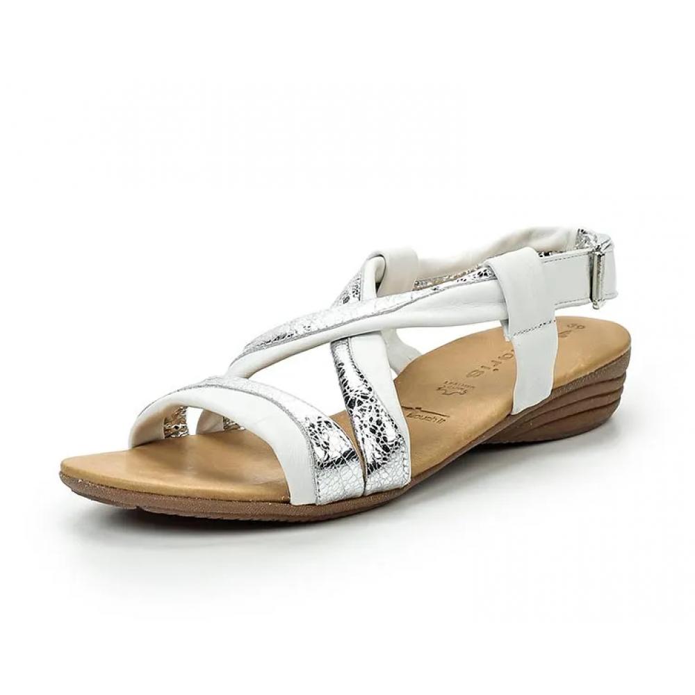 Сандалии женские Tamaris 1-1-28130-28 белые с серебряными вставками