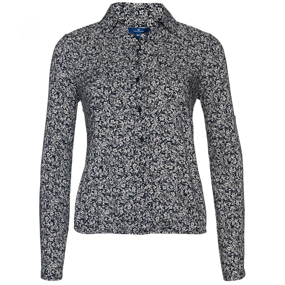 Блузка Tom Tailor темно синяя с цветочным принтом