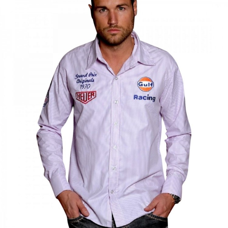 Рубашка Grandprix Originals Gulf Cufflink Stripe Shirt светло фиолетовая