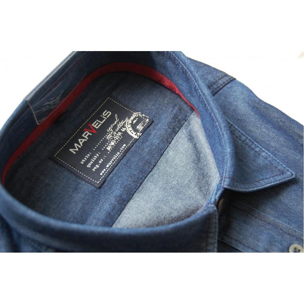 Рубашка джинсовая Marvelis 2625-64-96 синяя