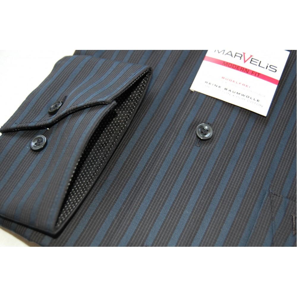 Рубашка Marvelis Modern Fit 2722-64-67 черная в полоску