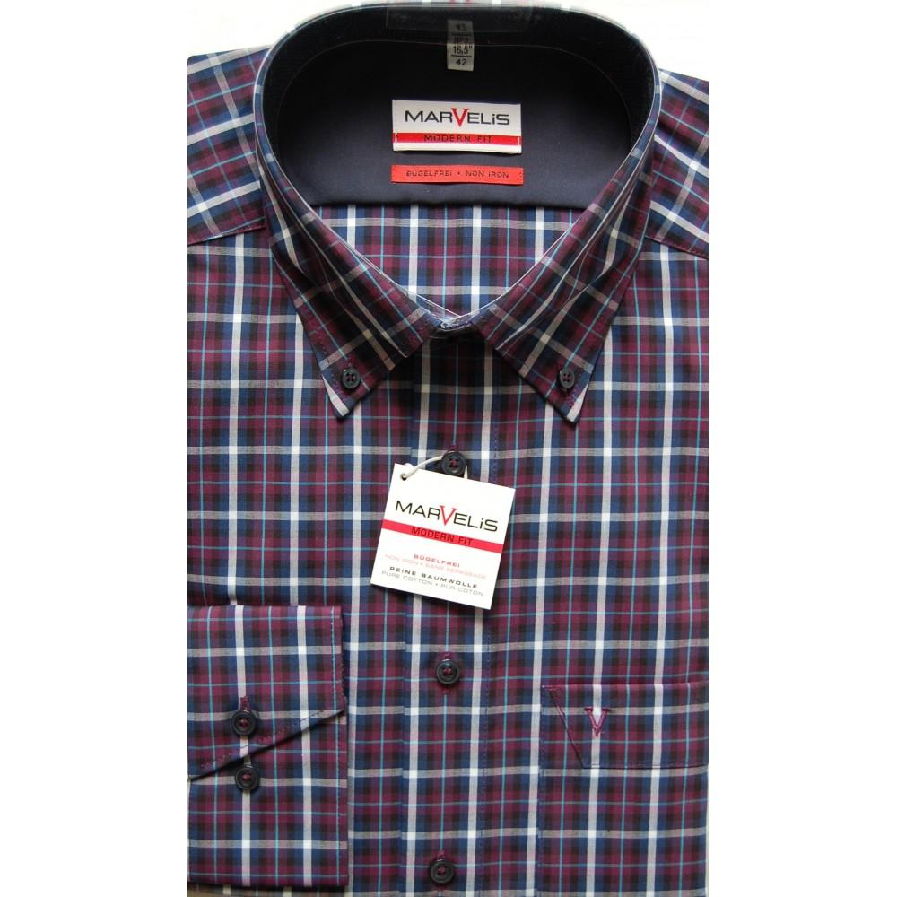 Рубашка Marvelis Mofern Fit 2726-64-98 фиолетовая в клетку
