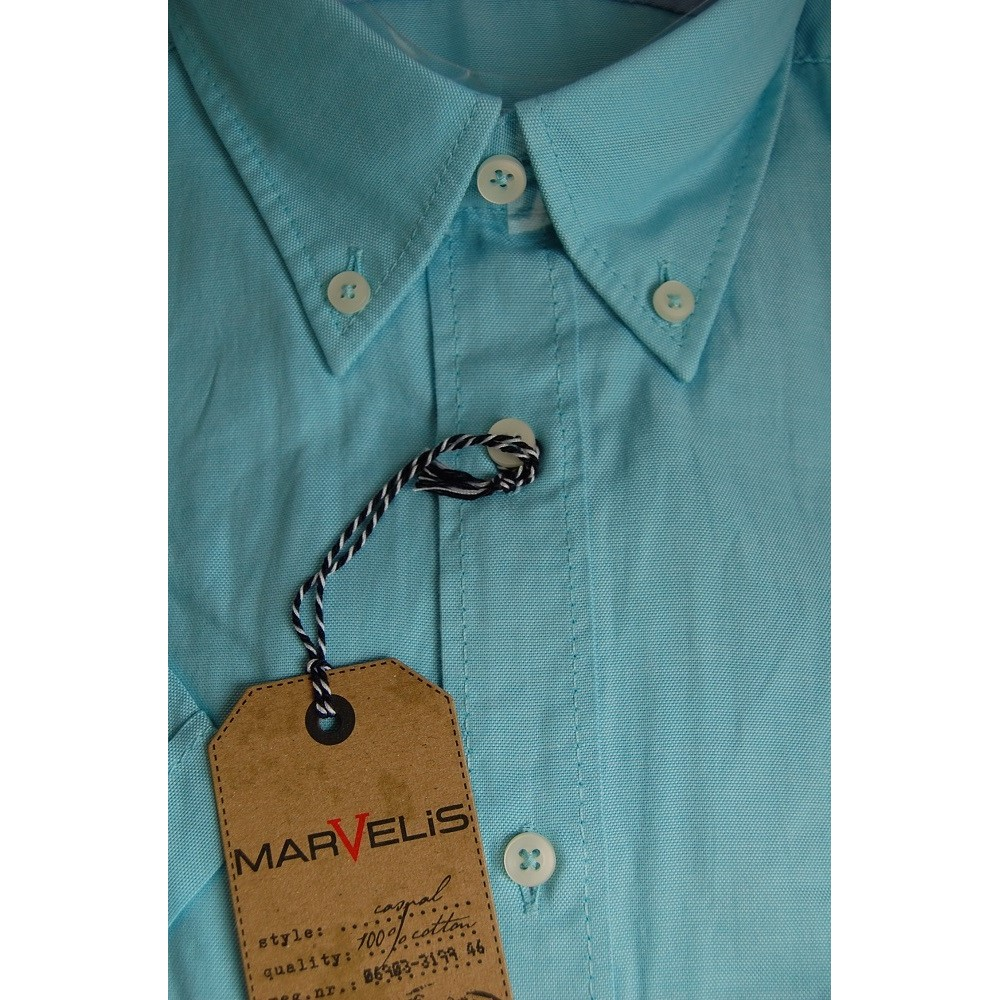 Рубашка мужская Marvelis 3639-12-43 светло бирюзовая