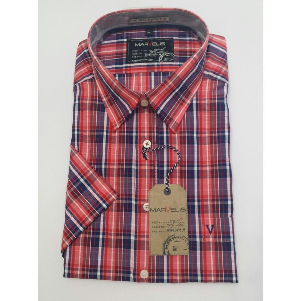 Рубашка мужская Marvelis 3648-12-35 разноцветная в клетку