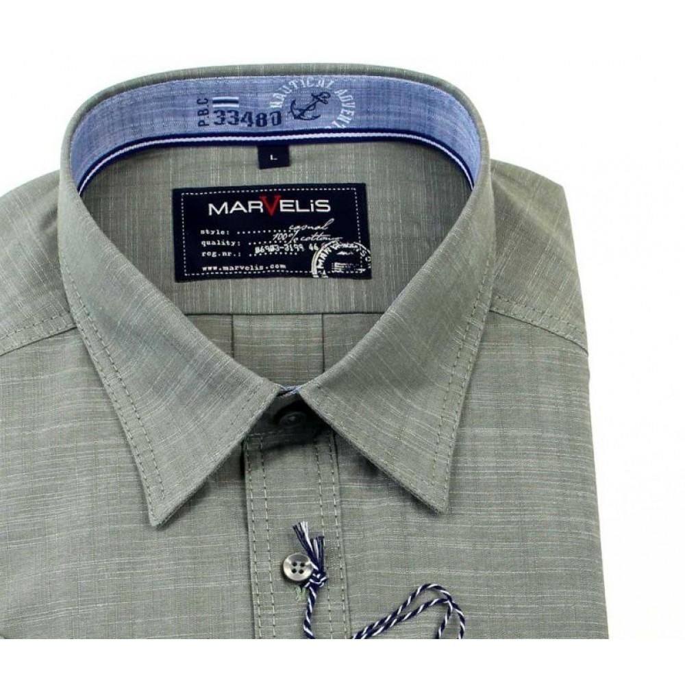 Рубашка мужская Marvelis Casual Sport 3649-12-26 цвета хаки