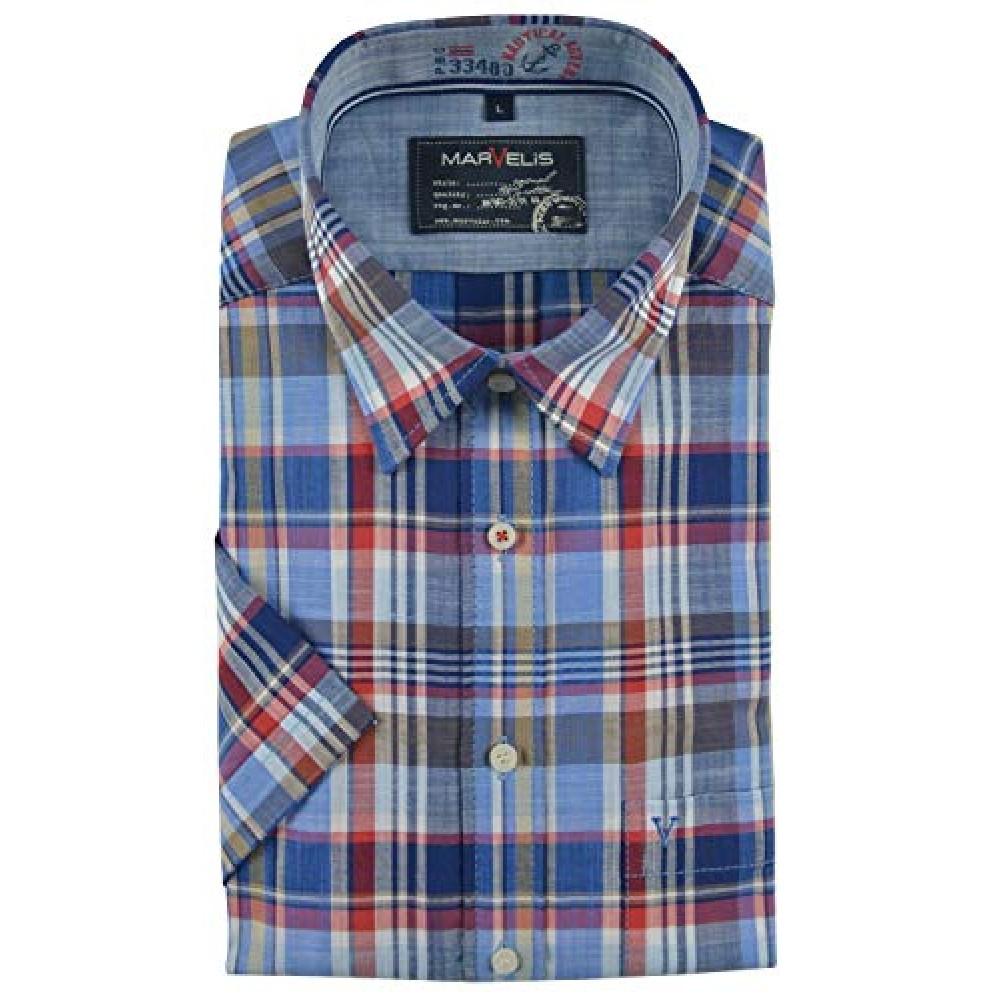 Рубашка мужская Marvelis 3667-12-35 разноцветная в клетку