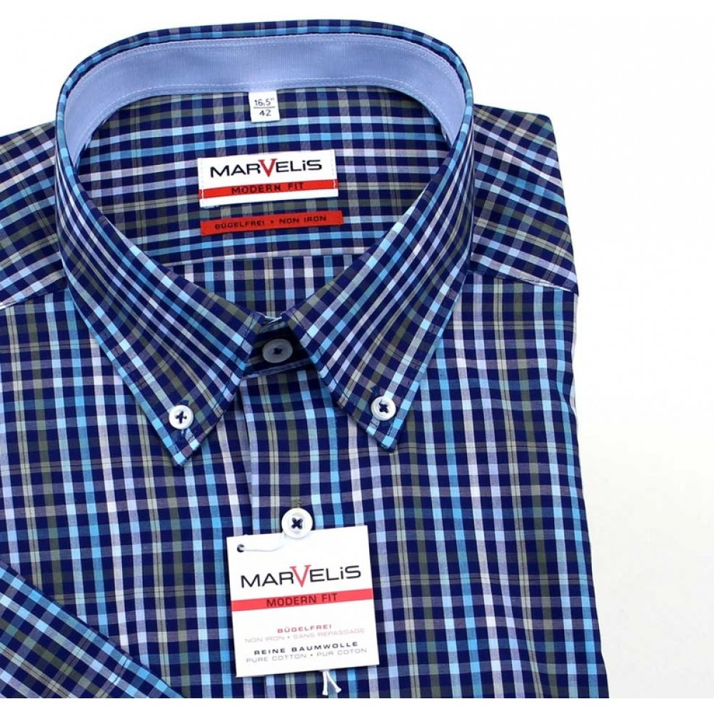 Рубашка Marvelis Modern Fit 3721-12-43 синяя в клетку