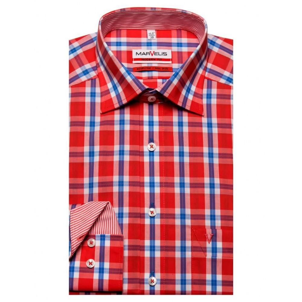 Рубашка Marvelis Modern Fit 3764-64-87 красная в клетку