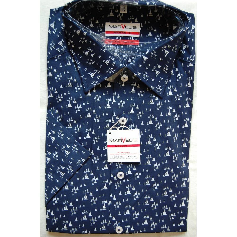 Рубашка Marvelis Modern Fit 3772-12-18 синяя в клетку
