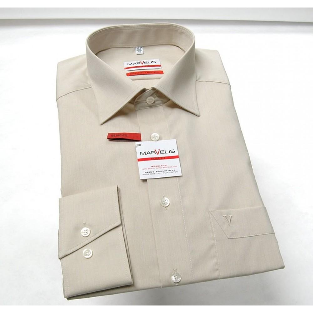 Рубашка мужская Marvelis Modern Fit 4704-64-22 бежевая